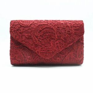 Handbags - Wine Red Lace Evening Envelope Clutch Floral NWT